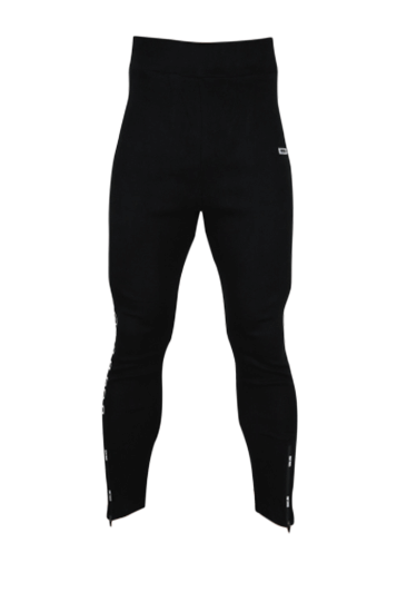 FRAMED LOGO ZIPPER LEGGINGS BLACK