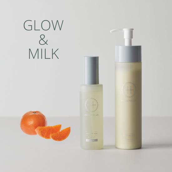 <はじめてのボディケア><br> ボディミルク(旧商品)&ボディオイルセット<br> GLOW :柑橘系とミントの組み合わせ