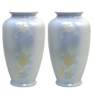 仏壇用花瓶/仏間用花瓶 紋箔銀彩8号