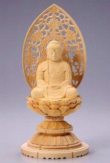 仏像 座釈迦 釈迦如来(白木 桧・丸台座) 3.5寸