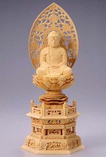 仏像 座釈迦 釈迦如来(白木 桧・六角座) 3.5寸