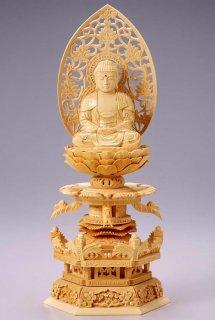 仏像 座釈迦 釈迦如来(白木 桧・ケマン座) 2.5寸