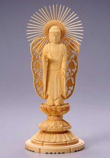 仏像 西立弥陀 阿弥陀如来(白木 桧・丸台座) 4.0寸