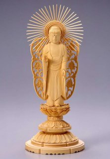 仏像 西立弥陀 阿弥陀如来(白木 桧・丸台座) 4.5寸