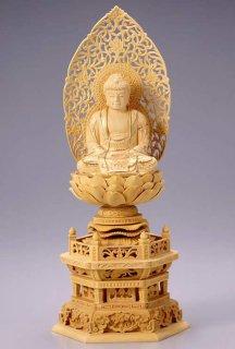仏像 座釈迦 釈迦如来(柘植 ツゲ・六角座) 3.5寸