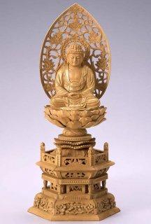 仏像 座釈迦 釈迦如来(樟 クス・六角座) 2.5寸