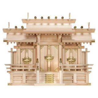 神棚 屋根違い三社・中(木曽ひのき製)