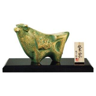 干支置物 丑 うし 牛 アルミ製 三枝惣太郎作 繁栄(はんえい)・大