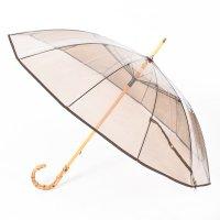 < Traditional Weatherwear / トラディショナル ウェザーウェア > BAMBOO CLEAR UMBRELLA BROWN