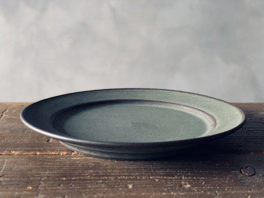 8寸(24cm)リム皿・緑/ 伊藤叔潔