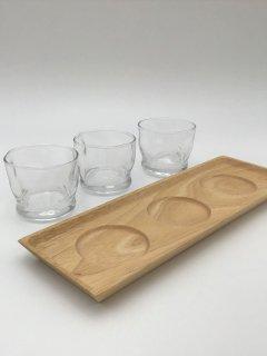 【ギフトセット】ミニグラス3個 木製トレーセット