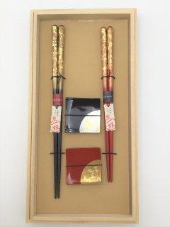 高級箸 一双 瑞雲&箔ちらし 箸置きセット 桐箱入り