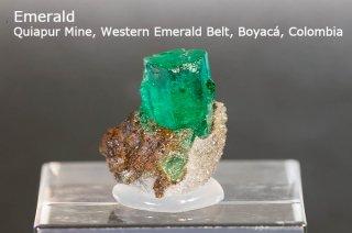 エメラルド 結晶石 コロンビア産|緑柱石|Quiapur Mine, Western Emerald Belt, Boyaca, Colombia|Emerald|2052A|