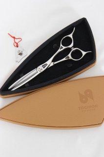 【美品】刃物屋トギノン クイーン サクセススター セニング 5.8インチ シザー メガネハンドル 28目フラット&スリット 約20% ネジ回し付き