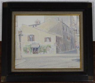 松浦安弘 「トラステベーレの街角」 油彩画