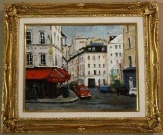垣内謙晴「パリの街角」油彩画
