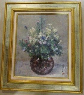 白滝幾之助 「花 フリージア」 油彩画