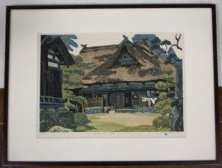 廣長威彦 「空窓の家 秋田」 木版画