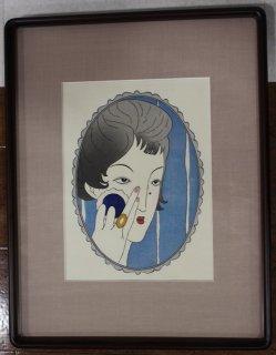 竹久夢二「鏡の女」手摺木版画 松永版