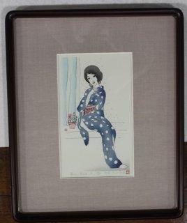 竹久夢二「雨の日」手摺木版画 松永版