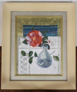 北村さゆり 「椿と伝統織物」 日本画