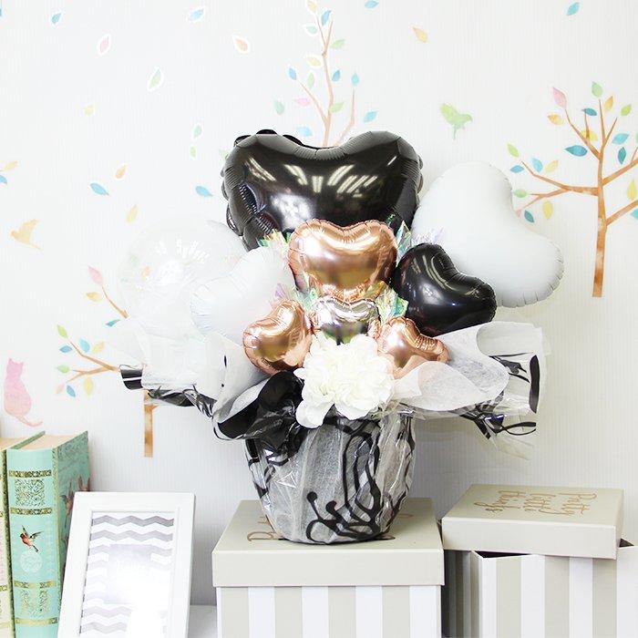 ハート・黒 誕生祝い バースデー お誕生会 結婚祝い ウェディング 開店祝い 周年祝い 発表会 コンサート 電報 祝電 メッセージ サプライズ 置き型 卓上アレンジ