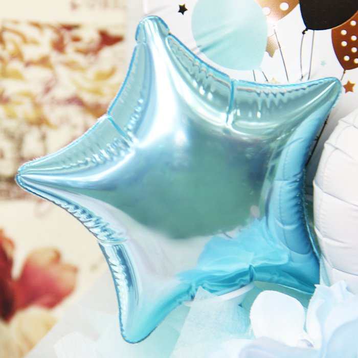 ハッピーバースデー パーティ ブルー 誕生祝い バースデー お誕生会 電報 祝電 メッセージ サプライズ 置き型 卓上アレンジ