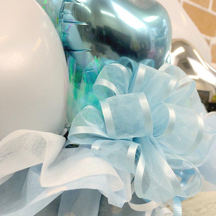 ハートバースデー水色 誕生祝い バースデー お誕生会 電報 祝電 メッセージ サプライズ 置き型 卓上アレンジ