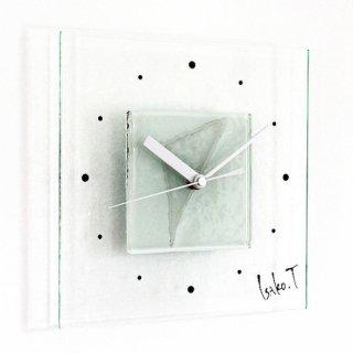 ガラスアート時計・「Snow triangle」