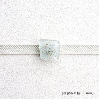 1点ものガラスの帯留め「雪の結晶」|箱付