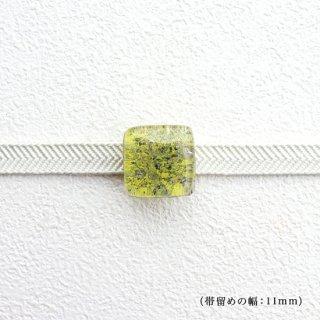 1点ものガラスの帯留め「yellow cube」|箱付