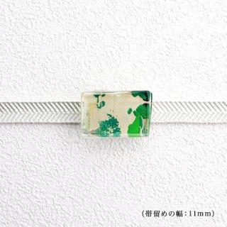 1点ものガラスの帯留め「GREEN MAP」|箱付