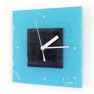 ガラスアート時計・「ネイビーブルーの扉」