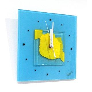 ガラスアート時計「水辺の月」