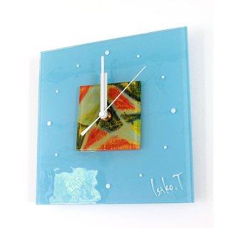 ガラスアート時計・「窓と木漏れ日」