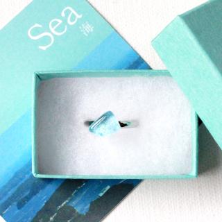伊勢志摩シリーズ・1点ものガラスリング「海/Sea」|箱付