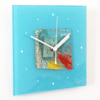 ガラスアート時計「海のある街」