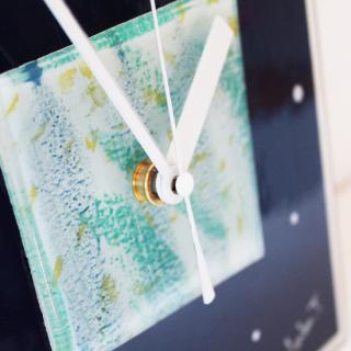 ガラスアート時計「ネイビーブルーの森」