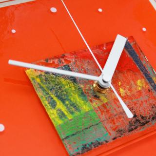 ガラスアート時計「orange landscape」