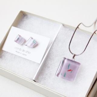1点ものガラス「桜/Cherry Blossom」ピアス&ペンダントセット|箱付