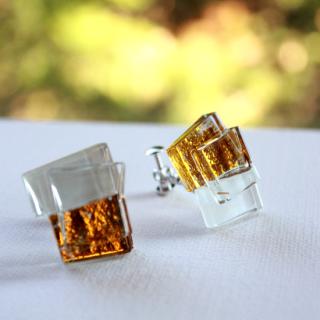 1点ものガラスイヤリング|ゴールドシリーズ|箱付