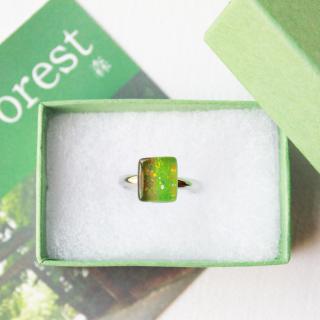 伊勢志摩シリーズ・1点ものガラスリング「森/Forest」|箱付