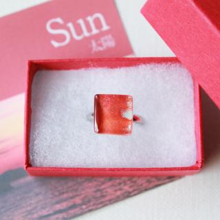 伊勢志摩シリーズ・1点ものガラスリング【大】「太陽/Sun」|箱付