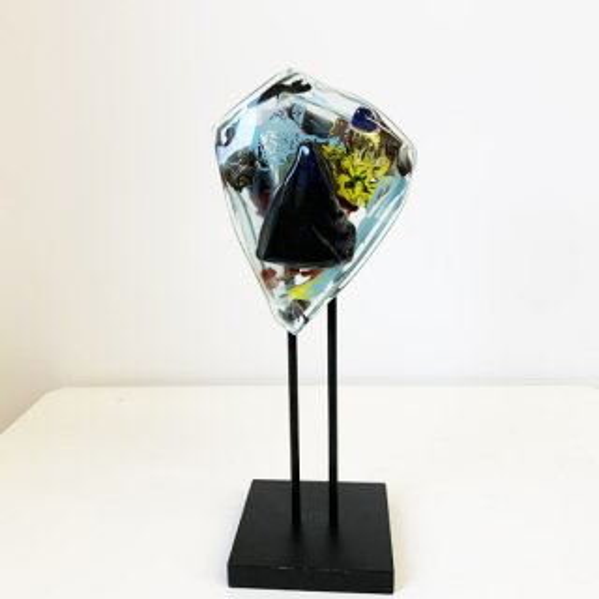 ガラスオブジェ「顔」シリーズ 壁掛け・アイアンスタンド両用タイプ
