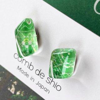伊勢志摩シリーズ・1点ものガラスピアス「森/Forest」|箱付