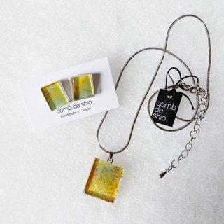 1点ものガラス「伊勢志摩シリーズ花/Flower」ピアス&ペンダントSET|箱付