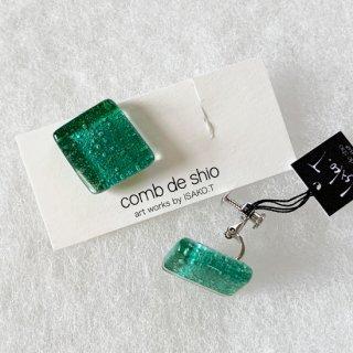 1点ものガラスイヤリング|深海グリーン|箱付