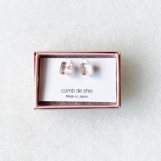 伊勢志摩シリーズ・1点ものガラスイヤリング「桜/Cherry Blossom」|箱付