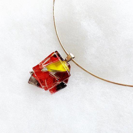 シルバーチョーカーU型細タイプ「red & yellow]」