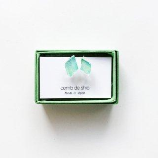 伊勢志摩シリーズ・1点ものガラスイヤリング「森/Forest」|箱付